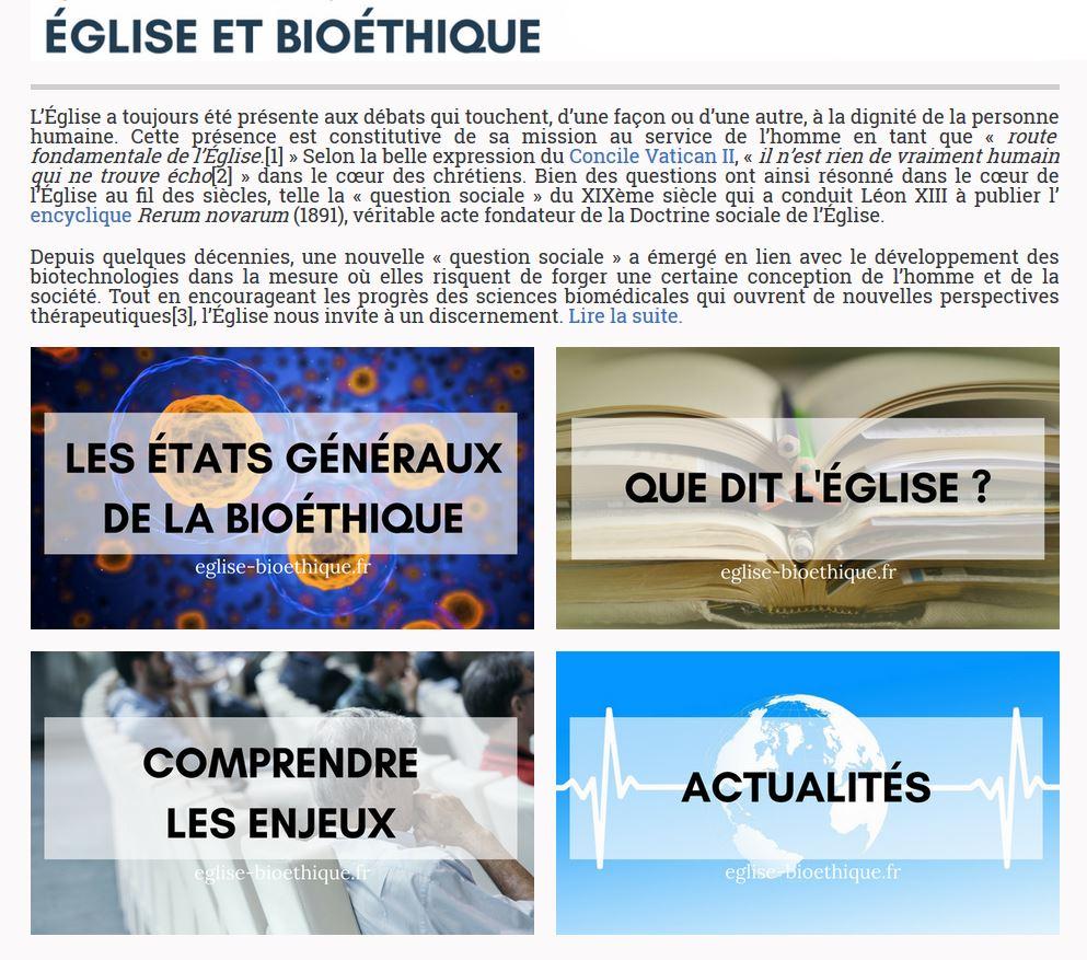 Site internet Eglise et bioéthique